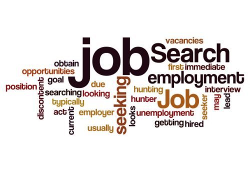 job search seeking employment concept word cloud background